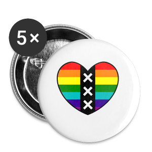 Hart Amsterdam in regenboog kleuren - Buttons klein 25 mm