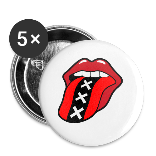 Rock en Roll Mond met een tong en Amsterdam logo - Buttons klein 25 mm