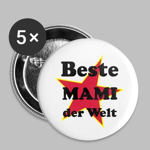 Beste MAMI der Welt - Mit Stern - Buttons klein 25 mm (5er Pack)