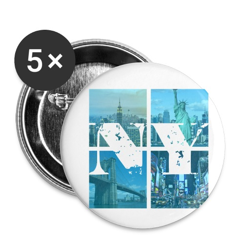 NEW YORK BLUE - Buttons klein 25 mm (5er Pack)
