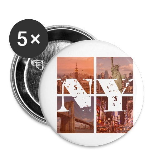 NEW YORK RED - Buttons klein 25 mm (5er Pack)