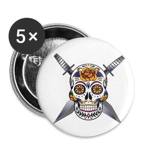 Cross skull swords - Lot de 5 petits badges (25 mm)