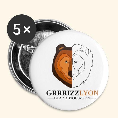 Grrrizzlyon - Lot de 5 petits badges (25 mm)