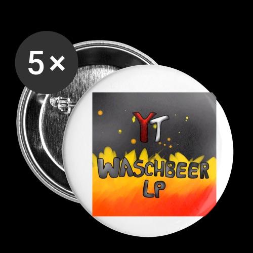 Waschbeer Design 2# Mit Flammen - Buttons klein 25 mm (5er Pack)