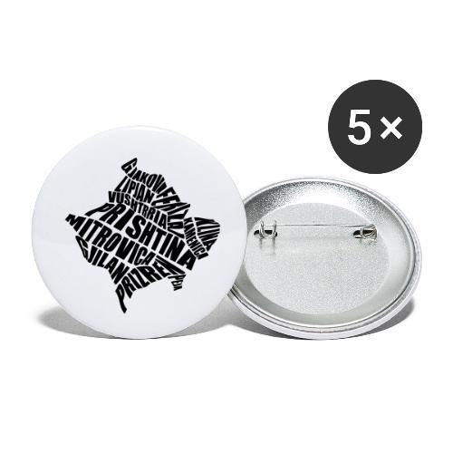 Kosovo Land mit allen Städten - Buttons klein 25 mm (5er Pack)