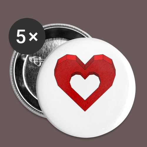 Heart Illusion - Buttons/Badges lille, 25 mm (5-pack)