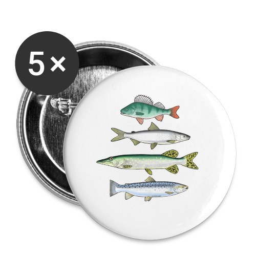 10-34 FOUR FISH - Ahven, siika, hauki ja taimen - Rintamerkit pienet 25 mm