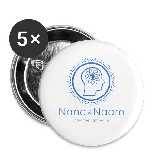 Nanak Naam Logo and Name - Blue - Buttons small 1''/25 mm (5-pack)
