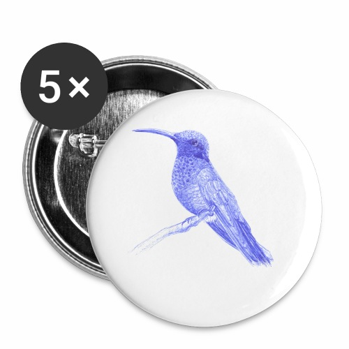 Hummingbird with ballpoint pen - Buttons small 1''/25 mm (5-pack)