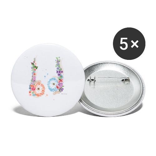 Blumen Hoden - Buttons klein 25 mm (5er Pack)