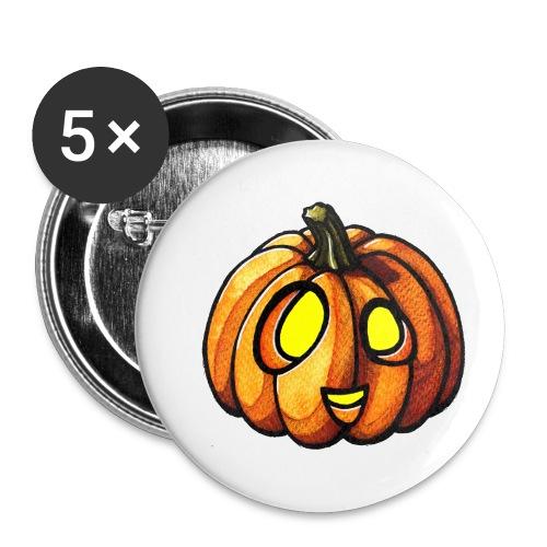 Pumpkin Halloween watercolor scribblesirii - Buttons/Badges lille, 25 mm (5-pack)