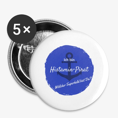 Histamin-Pirat Superheld (blau) - Buttons klein 25 mm (5er Pack)