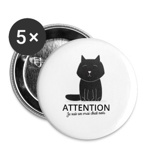 Chat noir - Badge petit 25 mm