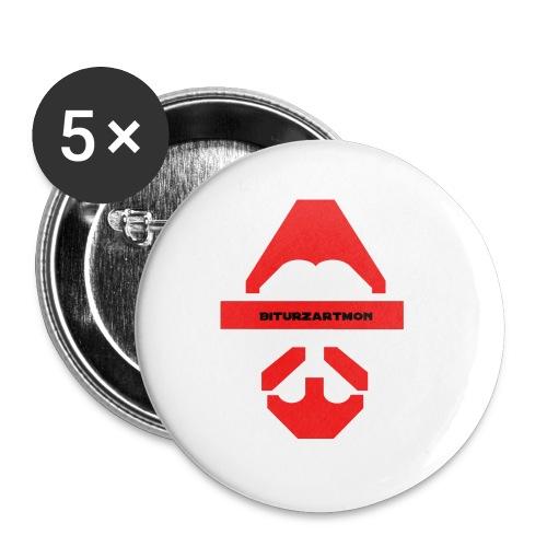 Biturzartmon Logo rot glatt - Buttons klein 25 mm (5er Pack)