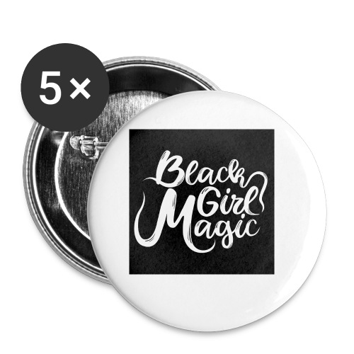 Black Girl Magic 1 White Text - Buttons small 1''/25 mm (5-pack)