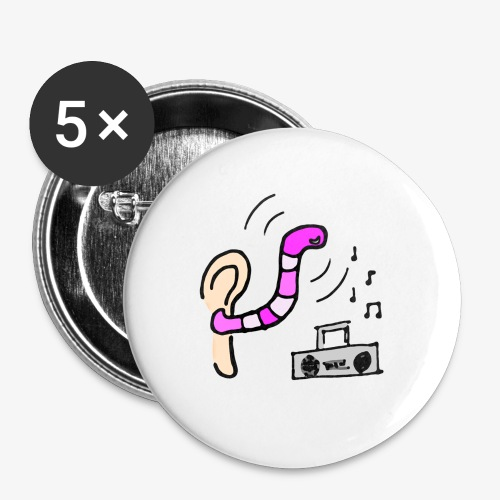 Radio Friendly Brain Worm - Små knappar 25 mm (5-pack)