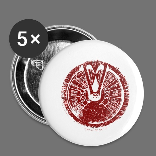Maschinentelegraph (red oldstyle) - Buttons small 1''/25 mm (5-pack)