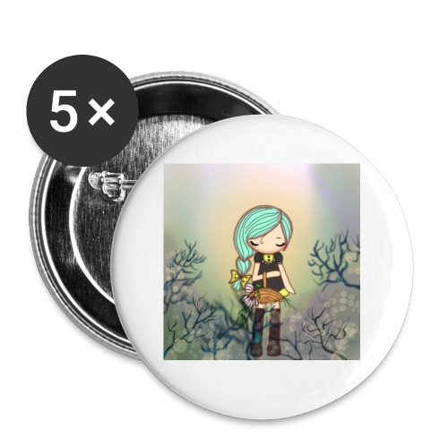 Little forest girl blue hair - Buttons small 1''/25 mm (5-pack)
