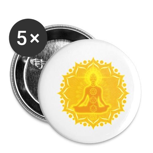 Yoga Lotus Meditation Chakren III - Buttons klein 25 mm (5er Pack)