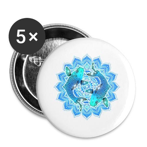 Asian Pond Carp - Koi Fish Mandala 1 - Buttons klein 25 mm (5er Pack)