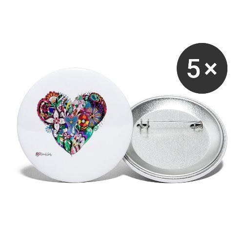 Mandala Herz bunt. - Buttons klein 25 mm (5er Pack)