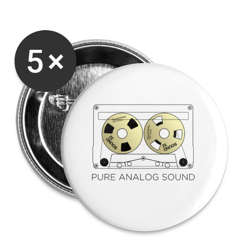 Reel gold cassette white - Buttons small 1''/25 mm (5-pack)
