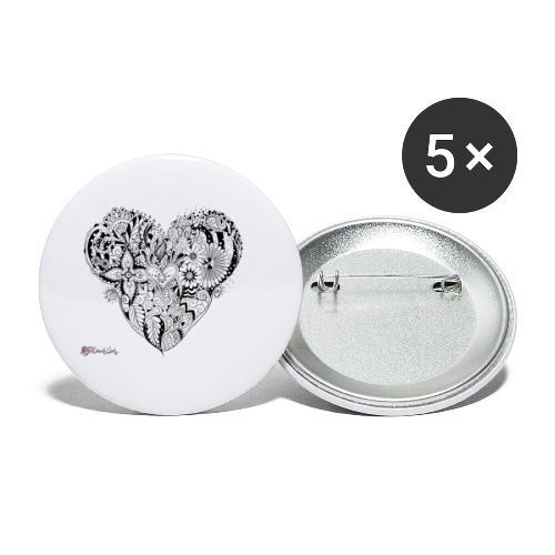 MandalaHerz ohne Hintergrund - Buttons klein 25 mm (5er Pack)