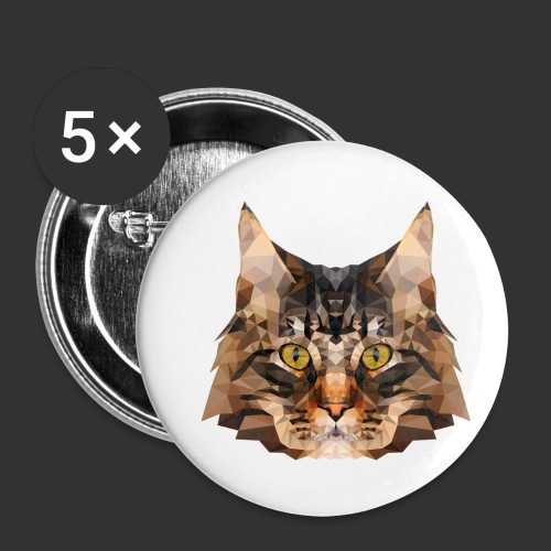 Chat LowPoly - Lot de 5 petits badges (25 mm)