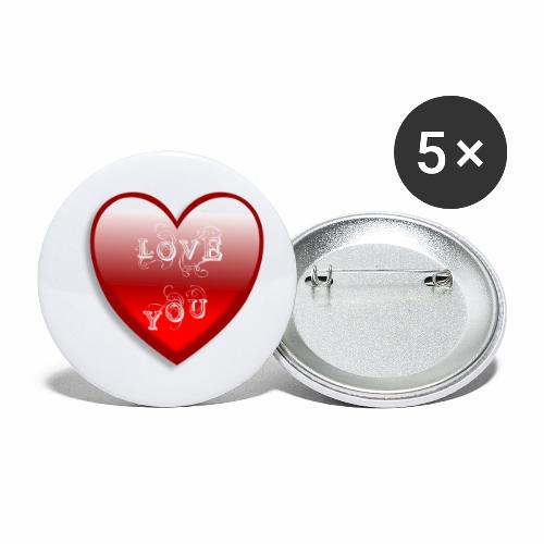 Love You - Buttons klein 25 mm (5er Pack)