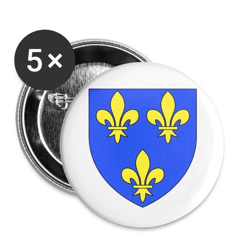 Blason royal 3 fleurs de Lys - Lot de 5 petits badges (25 mm)