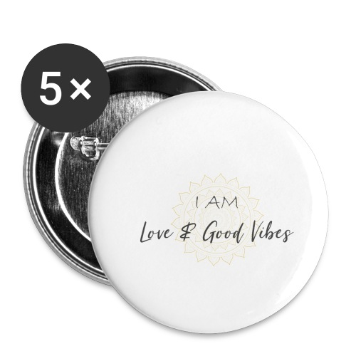 I am love and good vibes grey_gold - Buttons klein 25 mm (5er Pack)