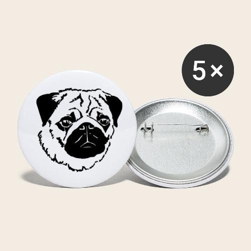 Mops Kopf - Buttons klein 25 mm (5er Pack)