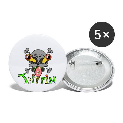 Totenkopf Trippin Design - Buttons klein 25 mm (5er Pack)