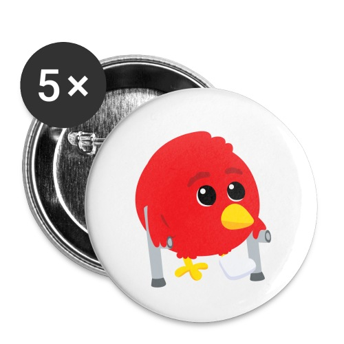 Oiseau rouge blessé - Lot de 5 petits badges (25 mm)