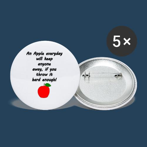 Lustiger Apfelspruch - Buttons klein 25 mm (5er Pack)