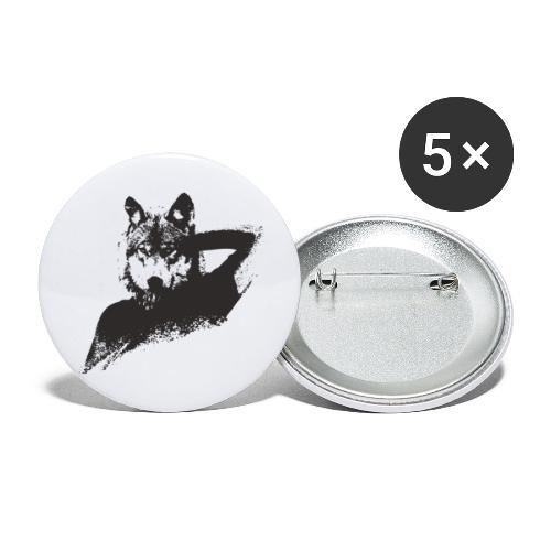 illustration zoom loup noir - Lot de 5 petits badges (25 mm)