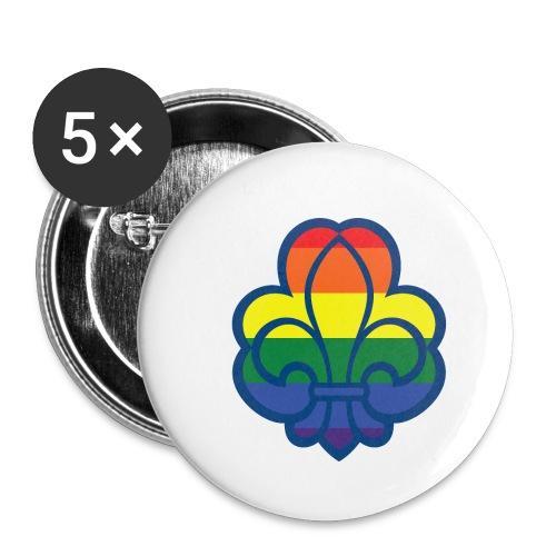 Regnbuespejder hvide t-shirts - Buttons/Badges lille, 25 mm (5-pack)