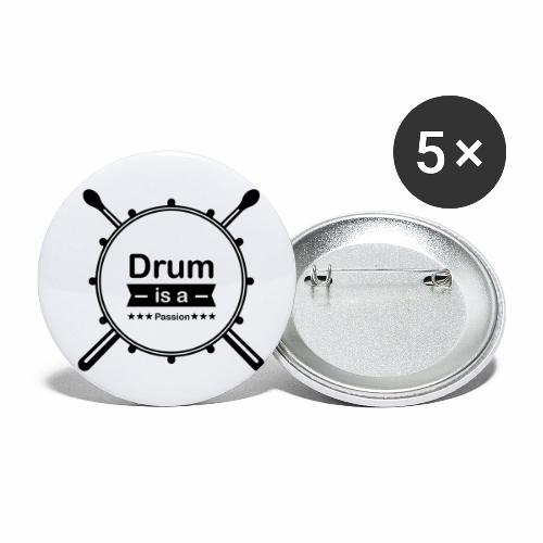 Drum is a passion - Buttons klein 25 mm (5er Pack)