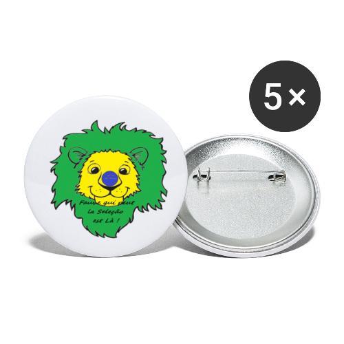 Lion supporter Brésil - Lot de 5 petits badges (25 mm)