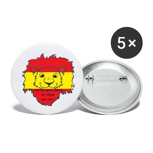 Lion supporter Espagne - Lot de 5 petits badges (25 mm)