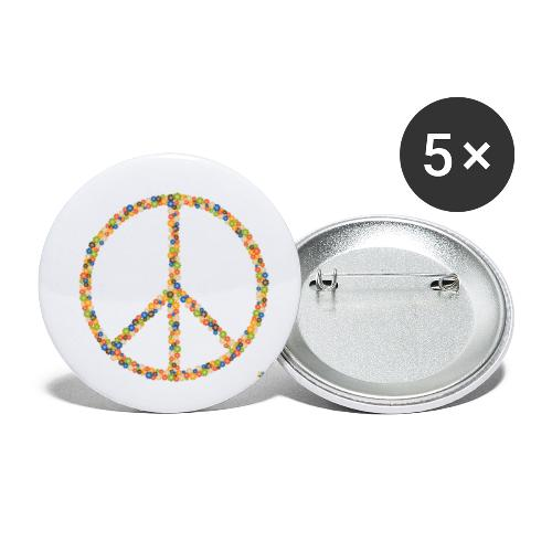 Peace Flowers - Buttons klein 25 mm (5er Pack)
