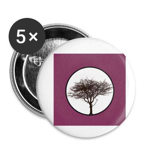 Baum in Kreis - Buttons klein 25 mm (5er Pack)