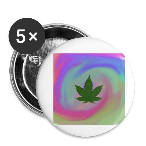 Hanfblatt auf bunten Hintergrund - Buttons klein 25 mm (5er Pack)