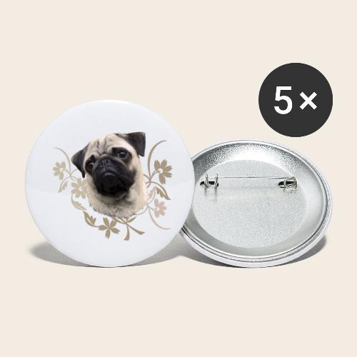 Mops Portrait - Buttons klein 25 mm (5er Pack)
