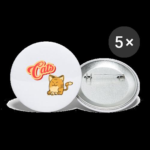 Katze   Katzen süß Schriftzug - Buttons klein 25 mm (5er Pack)