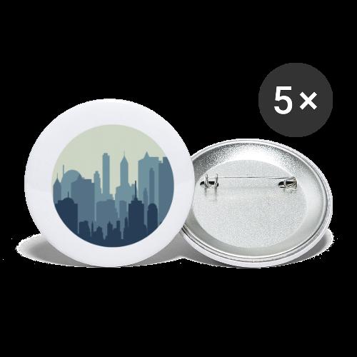 Stadt   Skyline Wolkenkratzer Hochhaus - Buttons klein 25 mm (5er Pack)