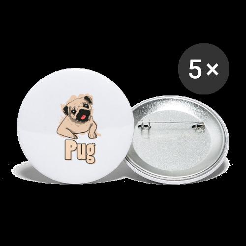 Mops   süß Hund Welpe - Buttons klein 25 mm (5er Pack)