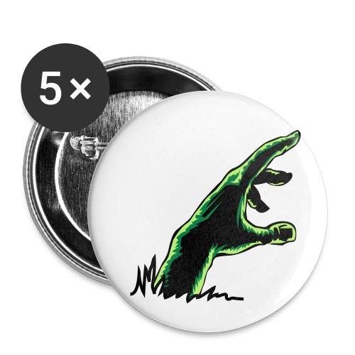 main_zombie - Lot de 5 petits badges (25 mm)