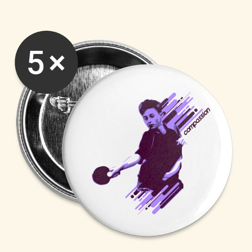 Compassion to win the table tennis championship - Buttons klein 25 mm (5er Pack)
