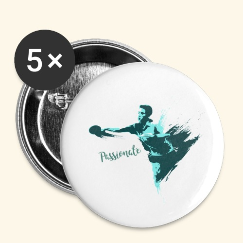 Passionate on winning table tennis champ - Buttons klein 25 mm (5er Pack)